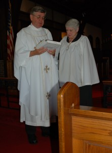 Father Frank Goss Reads Citation Honoring Linda Shadel on her Retirement after Serving as Organist and Choir Director of St. James for 33 Years (June 9, 2013)